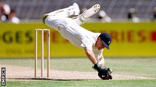 Steve Rhodes, keeping wicket for England at the second Ashes Test against Australia at Melbourne, Boxing Day 1994