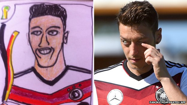 Mesut Özil drawing and photograph