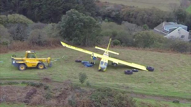 Channel Islands Air Search Islander plane after crash landing in Jersey