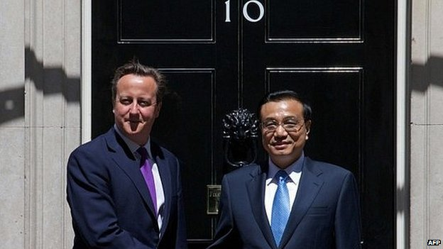 Li Keqiang and David Cameron outside Downing Street