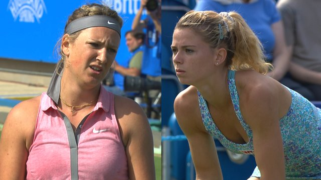 Victoria Azarenka is knocked out in the first round of the Aegon International at Eastbourne by Italy's Camila Giorgi