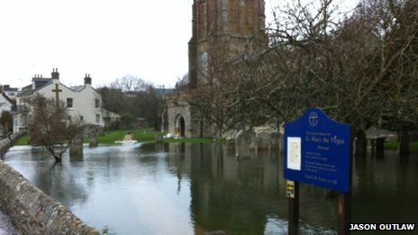 St Mary's Church in Charminster during flooding in 2014