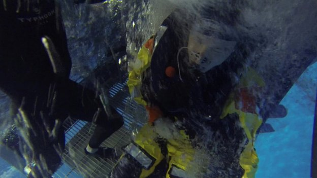 BBC correspondent Richard Westcott in an underwater safety training exercise