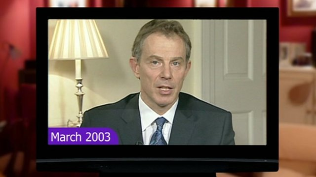 Graphic showing Tony Blair in 2003