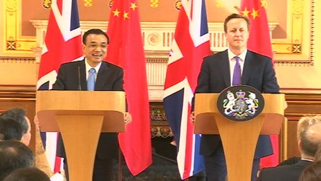 David Cameron with Li Keqiang in Downing Street