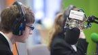 Two School reporters in a radio studio