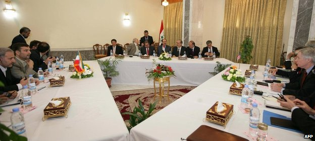 Iranian, Iraqi and US officials discuss security at a meeting in Baghdad in July 2007