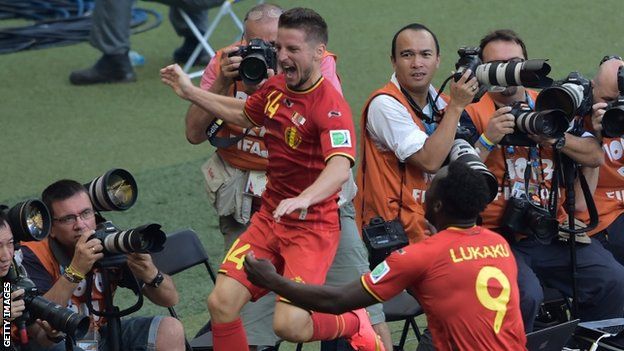 Dries Mertens celebrates scoring Belgium's winner