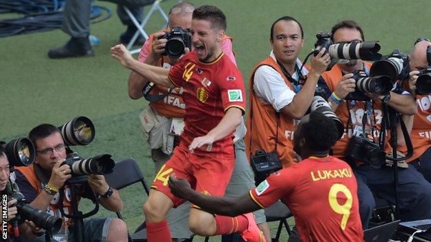 Dries Mertens celebrates scoring Belgium's winner