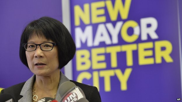 Toronto Mayoral candidate Olivia Chow appeared in Toronto, Ontario, on 1 May 2014