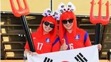 South Korea fans show their support prior to the 2014 Fifa World Cup Brazil Group H match between Russia and South Korea at Arena Pantanal