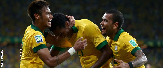 Brazilian striker Jo (centre) celebrates scoring against Mexico in the 2013 Confederations Cup