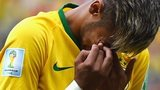 A tearful Neymar is unable to control his emotions during the Brazilian national anthems