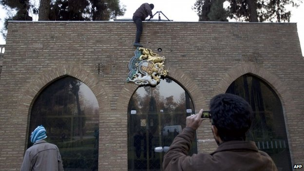Protests at the British embassy in Iran in 2011