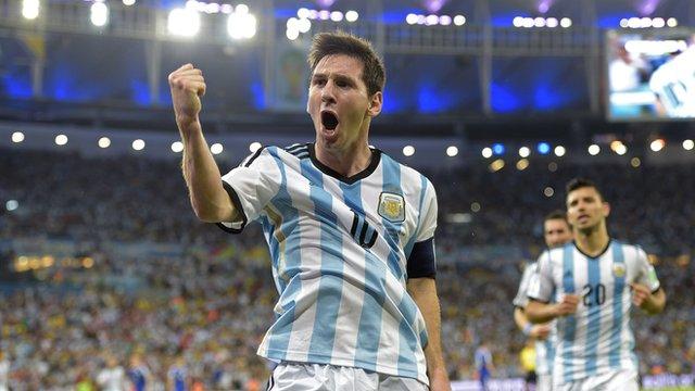 Lionel Messi celebrates after scoring for Argentina against Bosnia-Hercegovina