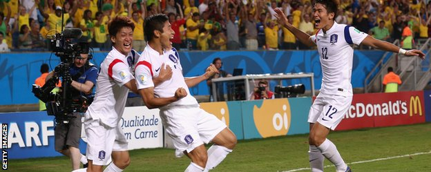 Lee Keun-ho celebrates his goal for South Korea.
