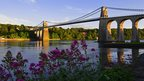 Menai Bridge at sunset.