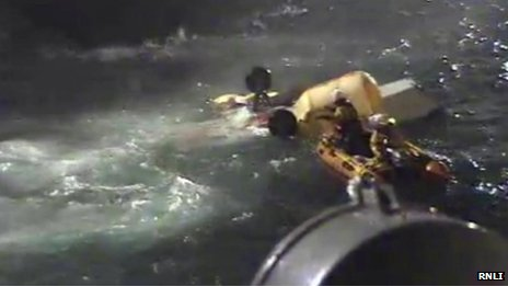 RNLI image of the helicopter crash off the Shetland Islands in August 2013