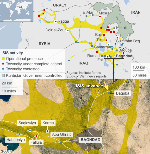 Map showing ISIS activity