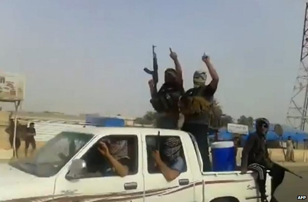 Alleged ISIS militants in the town of Baiji (taken from a video posted on 17 June 2014)