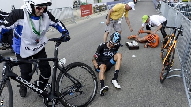 Bradley Wiggins after his crash
