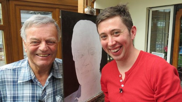 Tony Blackburn with artist John Puckey