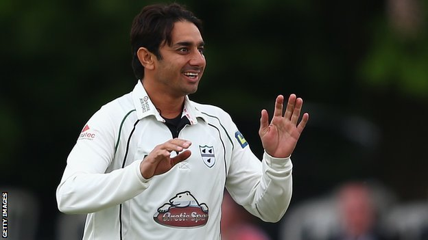 Worcestershire spinner Saeed Ajmal celebrates a wicket