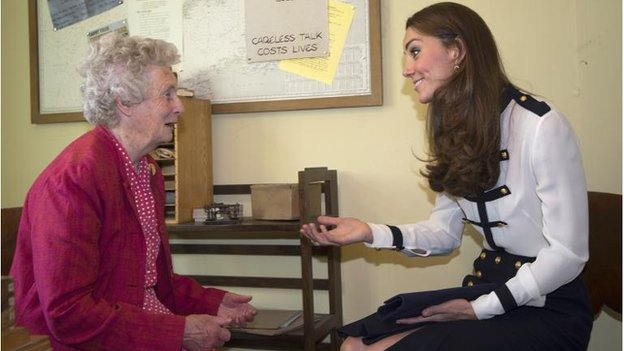The Duchess of Cambridge talks with Bletchley veteran Lady Marion Body, who knew her grandmother, during a visit to Bletchley Park