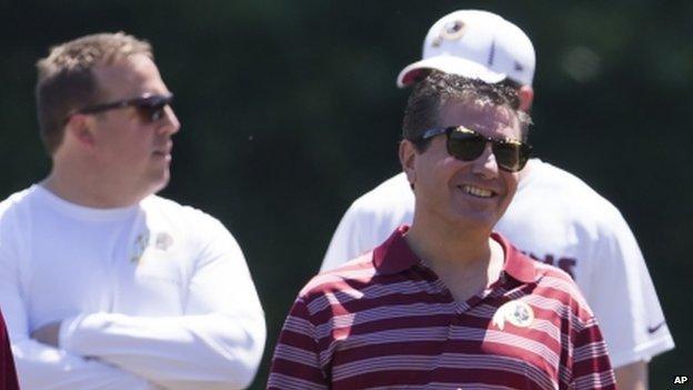 Washington Redskins owner Daniel Snyder (right) appeared in Ashburn, Virginia, on 4 June 2014