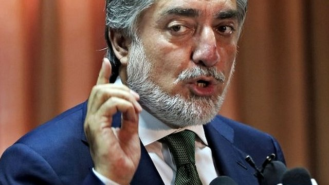 Abdullah Abdullah at a news conference in Kabul, Afghanistan