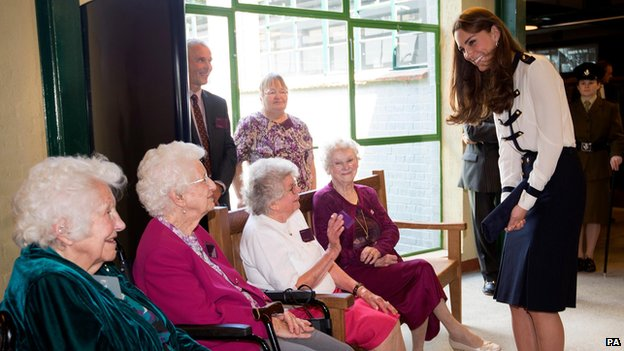 The Duchess of Cambridge talks with Bletchley veterans (from the left) Peggy Huntington, Joan Joslin, Iris King and Alma Wightman, during a visit to Bletchley Park