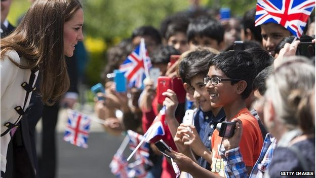 The duchess met with flag-waving children at Bletchley Park