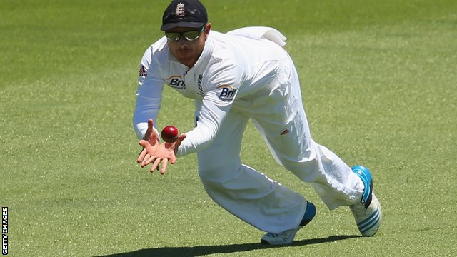 Ian Bell takes a catch during the third Ashes Test in Australia last year