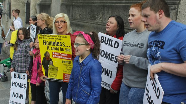 Demonstration outside Dublin City Hall