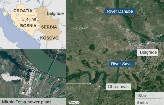 Map showing areas affected by Balkans flooding