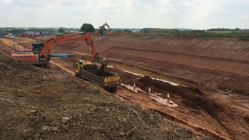 Digging for new A45 slip road