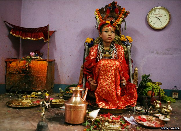 Chanira Bajracharya pictured in 2007, waiting in the Puja room in Patan, Nepal