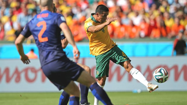 Australia's Tim Cahill celebrates after volleying home a spectacular equaliser