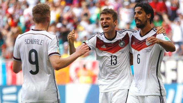 Germany's Thomas Mueller celebrates his third goal against Portugal