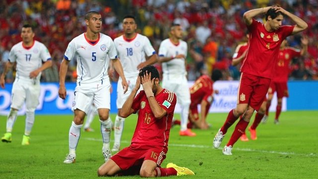 Spain's Sergio Busquets reacts after missing a gilt-edged chance