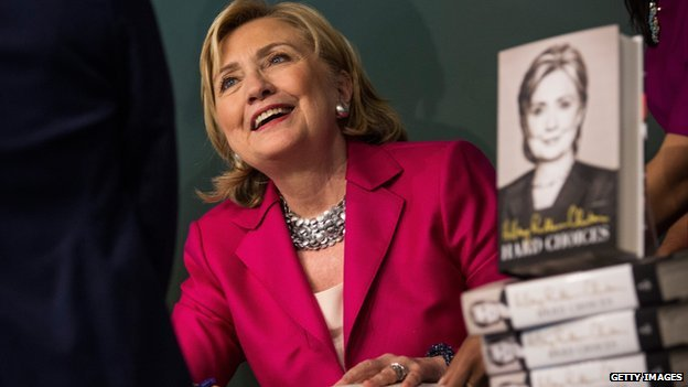 Hillary Clinton, shown here at a book event in New York, signed her memoir at a Costco warehouse