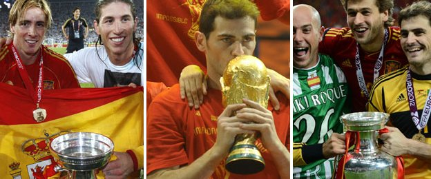 Spain won the Euro 2008, World Cup 2010 and Euro 2012 to become the first side to win all three trophies in a row