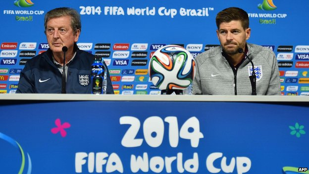 England coach Roy Hodgson and midfielder Steven Gerrard at press conference in the Corinthians Arena, Sao Paulo, ahead of their match against Uruguay on 19 June 2014