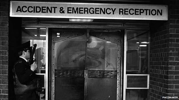 Policeman outside ward where Gerry Adams was treated