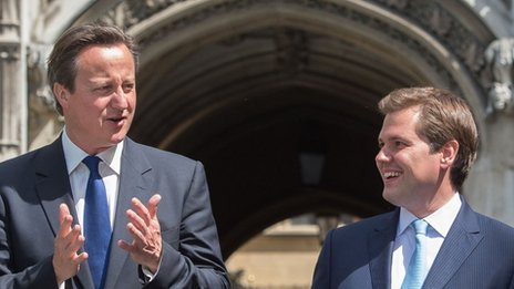 David Cameron and Robert Jenrick at the Houses of Parliament on 11 June