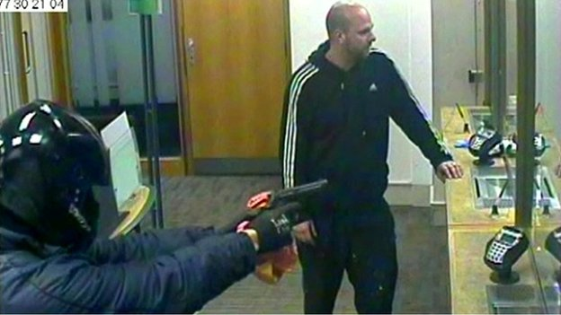CCTV of the bank robbery