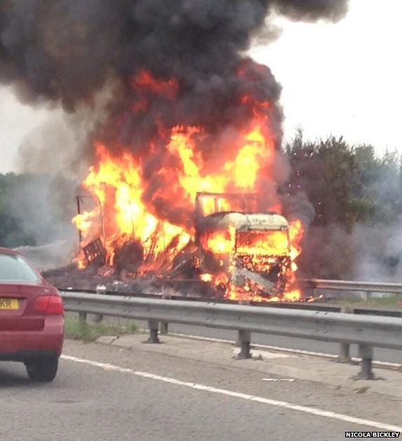 The fire on the M1