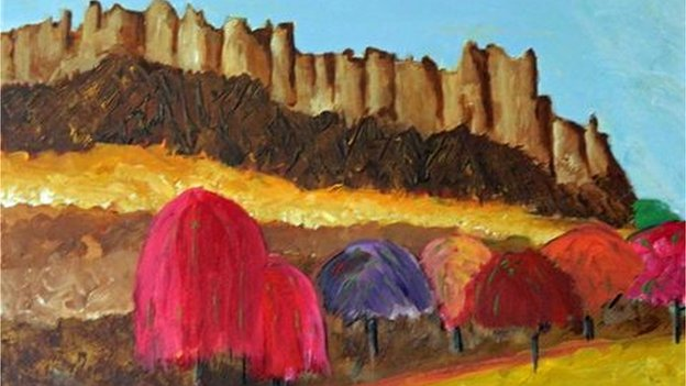 Oil painting of mountains and colourful trees