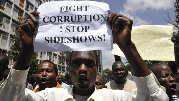 Kenyans take part in a demonstration in  Nairobi on 17 February 2010