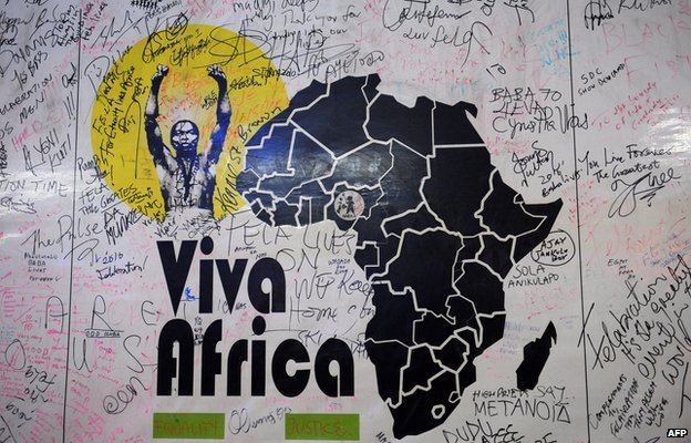 A billboard of the annual Felabration musical festival at the New Afrika Shrine in Lagos (19 July 2012)